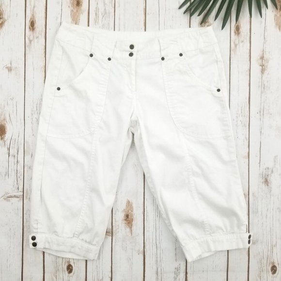 Nobo Harem Capri Pants Stretch White